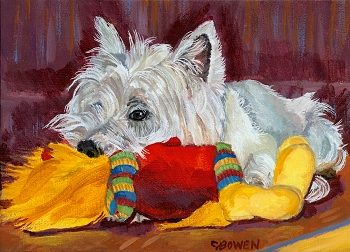 West Highland Terrier Westie playing with plush toy - cute Westie original painting acrylic