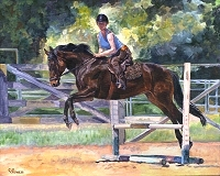 Equine horse painting by Connie Bowen of an athletic chestnut colored gelding at the Lake Oswego Hunt Club.