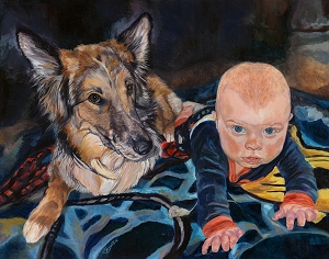 Brekka and Chris - dog and baby together in a painting