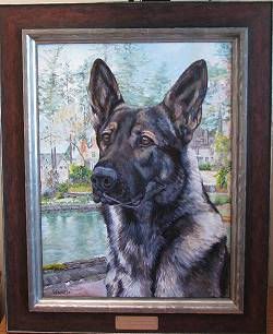 Dog Painting by Connie Bowen of Charger, a German shepherd, and a member of the Lake Oswego Police Department K-9 Corps