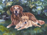 Dog Painting by Connie Bowen of Clarence and Henry, a beautiful Golden Retriever and sweet Golden Retriever puppy