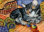 Jamar - gray tabby kitten with painted rocks in background