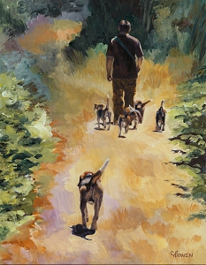 Joey walking with his Beagles without a leash