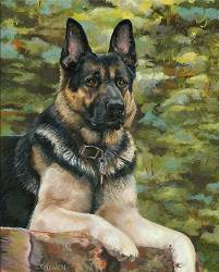 Dog Painting by Connie Bowen of Search and Rescue dog Justice. He was the most magnificent German shepherd SAR dog!