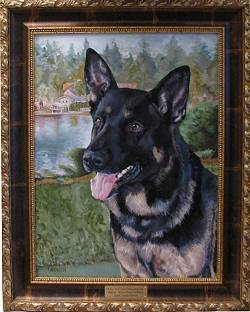 Dog Painting by Connie Bowen of Kai, a German shepherd, and a member of the Lake Oswego Police Department K-9 Corps