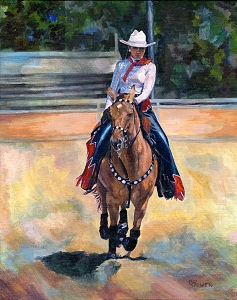 Equine horse painting by Connie Bowen of Kristin and Curly, a drill team horse portrait