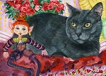 Lucy- Gray cat with whimsical doll and red roses
