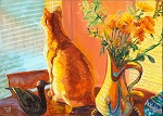 Sammy - orange cat with sunset and orange flowers