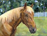 Equine horse painting by Connie Bowen of Topaz, a beautiful Palomino pony. Palomino horses have the most beautiful, blonde manes!