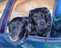 Dog Painting by Connie Bowen of Clyde and Babe, two very sweet black labrador retrievers who love to go along, too! Black labs shine!