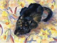 Custom cat portrait painting by Connie Bowen of Shirin, a mostly black calico cat, on a bed of flowers