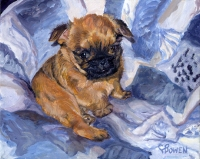 Dog painting by Connie Bowen of Gabby, an adorable  Brussels Griffon puppy. Brussels Griffon dogs have so much energy! Zip!
