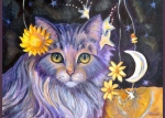 This whimsical Lavender Cat can brighten your day!