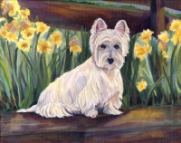 Dog Painting by Connie Bowen of Robbie, a handsome West Highland Terrier. Westies in spring, what could be sweeter?!