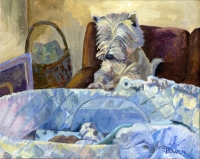 Dog Painting by Connie Bowen of Tucker and Benji - a sweet Westie (West Highland Terrier) with his new charge